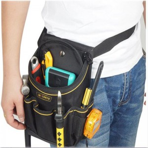 WOLUNTU® Durable Strong 1680D high density Oxford Tool Pocket Pouch Belt Small Pocket Tool bag With Adjustable Nylon Belt Heavy Duty Professional Waist Work pouch for Electricians Technician-Black