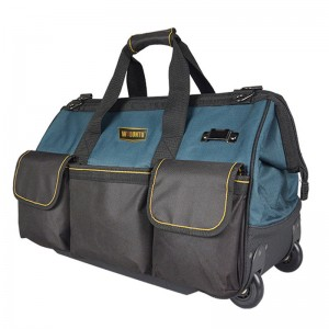 Rolling Tool Bag Heavy Duty Organizer Wide Opening Mouth With Two Wheels and Telescoping handle